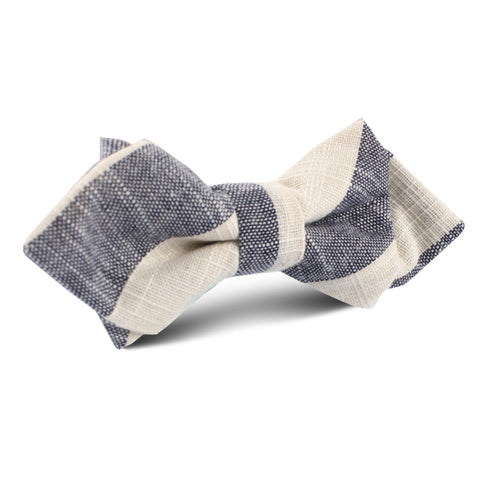 Kekova Blue Striped Linen Diamond Bow Tie