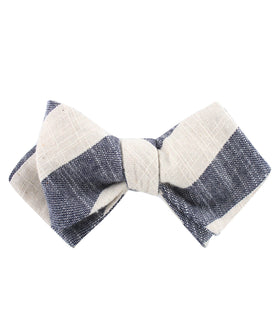 Kekova Blue Striped Linen Diamond Self Bow Tie