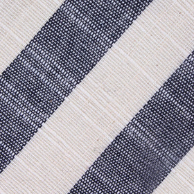 Kekova Blue Striped Linen Self Bow Tie