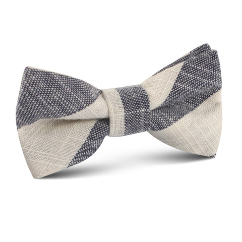 Kekova Blue Striped Linen Kids Bow Tie