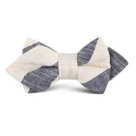 Kekova Blue Striped Linen Kids Diamond Bow Tie