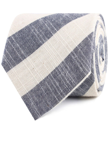 Kekova Blue Striped Linen Tie