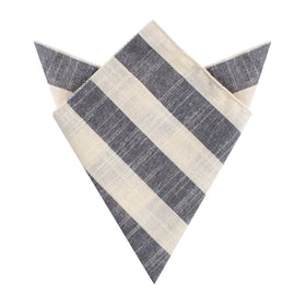 Kekova Blue Striped Linen Pocket Square