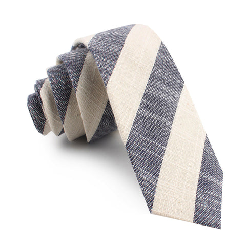 Kekova Blue Striped Linen Skinny Tie