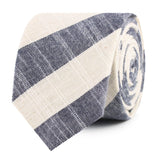 Kekova Blue Striped Linen Slim Tie