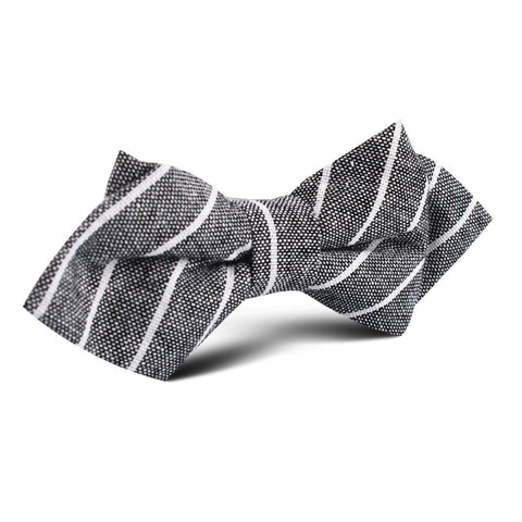 Kettle Linen Black Pinstripe Diamond Bow Tie