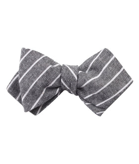 Kettle Linen Black Pinstripe Diamond Self Bow Tie
