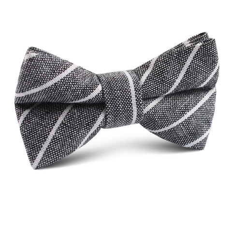 Kettle Linen Black Pinstripe Kids Bow Tie