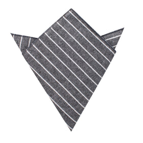 Kettle Linen Black Pinstripe Pocket Square
