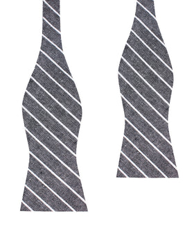 Kettle Linen Black Pinstripe Self Bow Tie