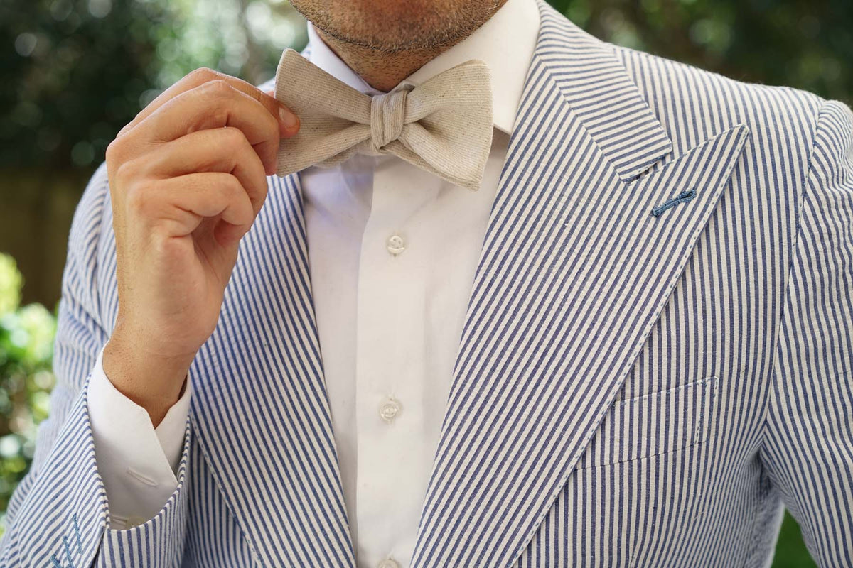 Khaki Twill Stripe Linen Self Tie Bow Tie