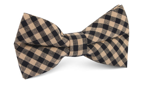 Khaki Black Gingham Blend Bow Tie