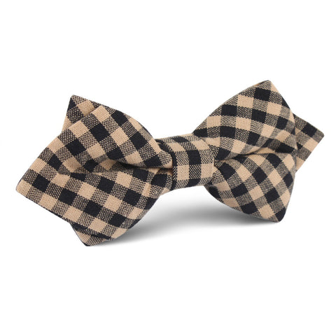 Khaki Black Gingham Blend Diamond Bow Tie