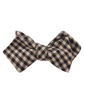 Khaki Black Gingham Blend Diamond Self Bow Tie