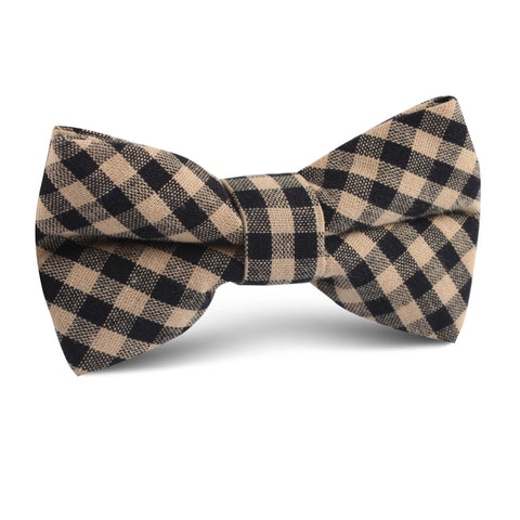 Khaki Black Gingham Blend Kids Bow Tie