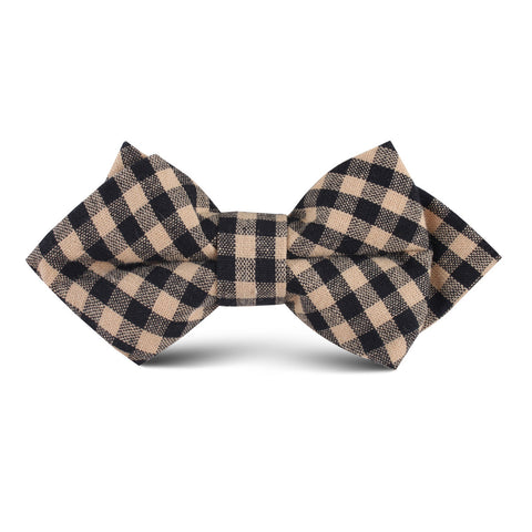 Khaki Black Gingham Blend Kids Diamond Bow Tie