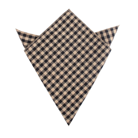 Khaki Black Gingham Blend Pocket Square