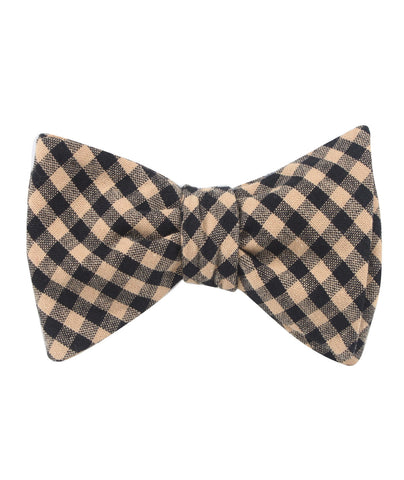 Khaki Black Gingham Blend Self Bow Tie