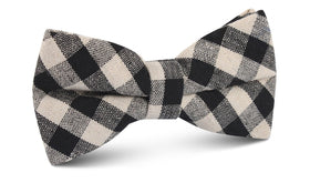 Khaki & Black Gingham Linen Bow Tie