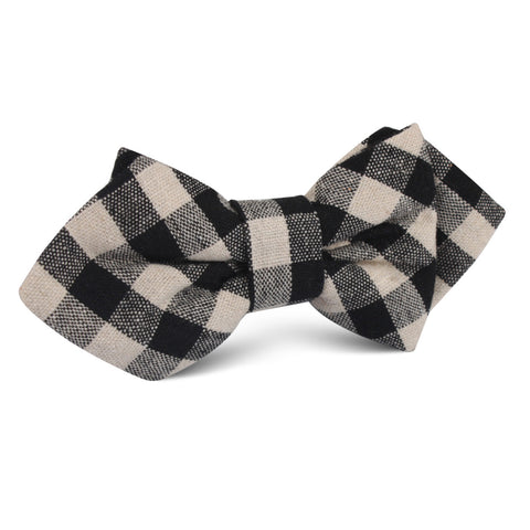 Khaki & Black Gingham Linen Diamond Bow Tie