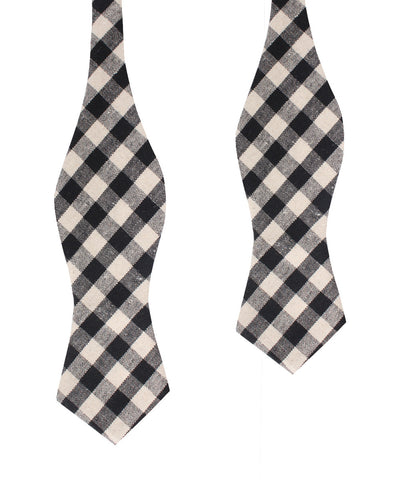 Khaki & Black Gingham Linen Diamond Self Bow Tie