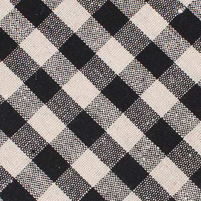 Khaki & Black Gingham Linen Pocket Square