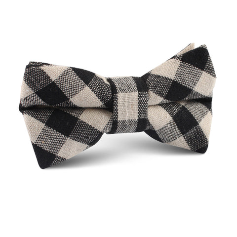 Khaki & Black Gingham Linen Kids Bow Tie