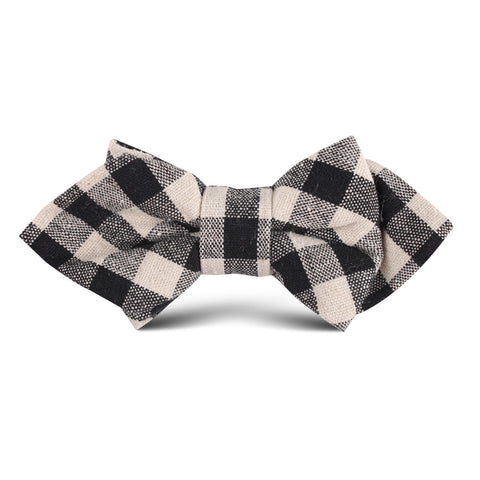 Khaki & Black Gingham Linen Kids Diamond Bow Tie