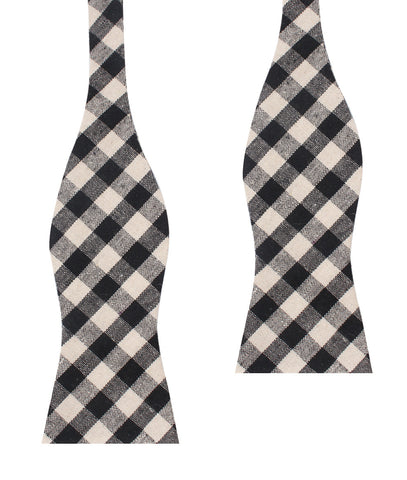 Khaki & Black Gingham Linen Self Bow Tie