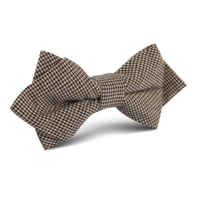 Khaki Black Houndstooth Blend Diamond Bow Tie