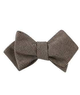 Khaki Black Houndstooth Blend Diamond Self Bow Tie