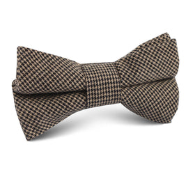 Khaki Black Houndstooth Blend Kids Bow Tie