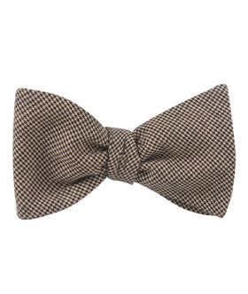 Khaki Black Houndstooth Blend Self Bow Tie