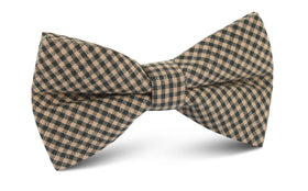 Khaki Green Gingham Blend Bow Tie