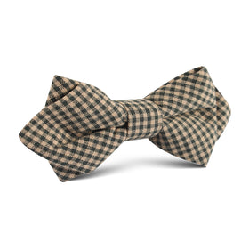 Khaki Green Gingham Blend Diamond Bow Tie