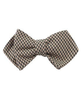 Khaki Green Gingham Blend Diamond Self Bow Tie