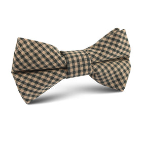 Khaki Green Gingham Blend Kids Bow Tie