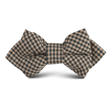 Khaki Green Gingham Blend Kids Diamond Bow Tie