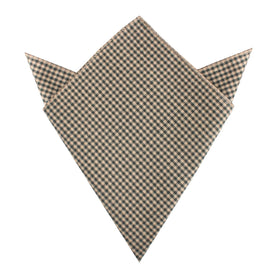 Khaki Green Gingham Blend Pocket Square