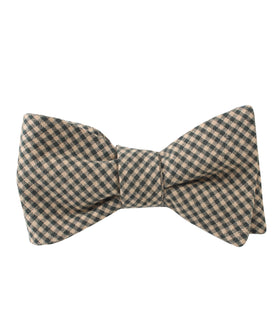 Khaki Green Gingham Blend Self Bow Tie