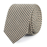 Khaki Green Gingham Blend Slim Tie