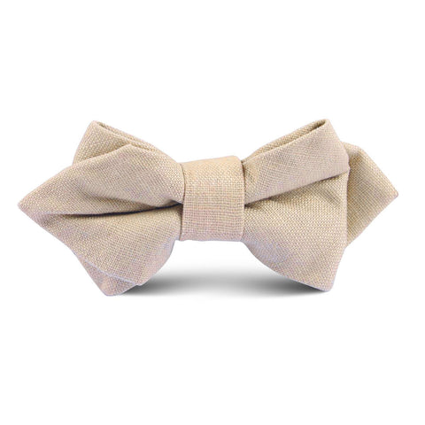 Khaki Linen Kids Diamond Bow Tie