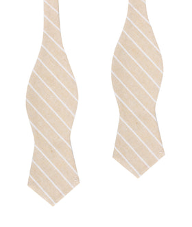 Khaki Linen Pinstripe Diamond Self Bow Tie