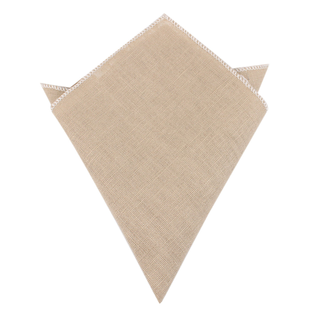 Khaki Linen Pocket Square Mens Handkerchief Australia