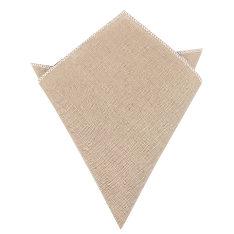 Khaki Linen Pocket Square