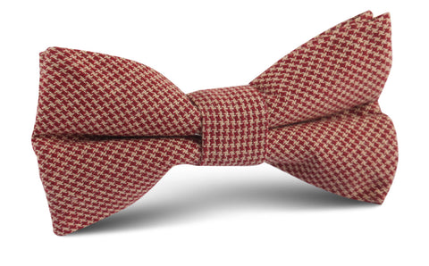 Khaki Red Houndstooth Blend Bow Tie