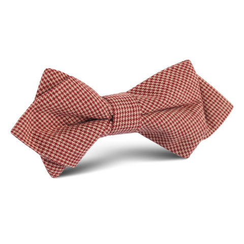 Khaki Red Houndstooth Blend Diamond Bow Tie