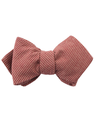 Khaki Red Houndstooth Blend Diamond Self Bow Tie
