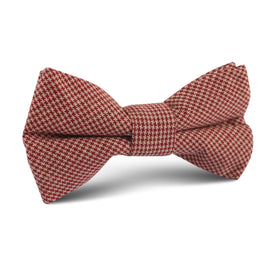 Khaki Red Houndstooth Blend Kids Bow Tie