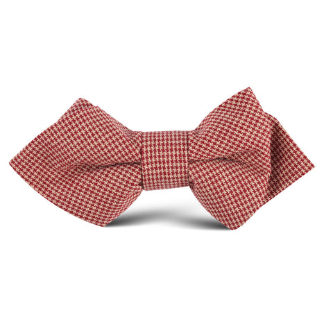 Khaki Red Houndstooth Blend Kids Diamond Bow Tie